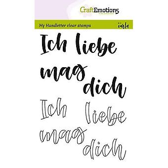 CraftEmotions Clear Stamps A6 - poignée - Ich liebe dich (DE) Carla Kamphuis