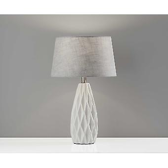 """13.75"""" X 13.75"""" X 22.5"""" White Ceramic 2 Pc Table Lamp Bonus Pack"""