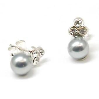 The Olivia Collection S. Silver Grey Pearl Earrings with Cz plus Pouch