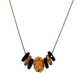 Toc Copper and Jet Bead  Elements Necklace on 18 Inch Chain