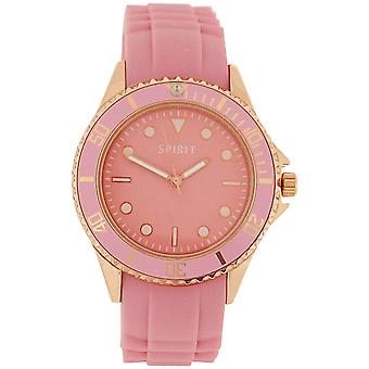 Spirit Ladies Pink Dial Rose Goldtone Metal Case Pink Rubber Strap Watch ASPL67