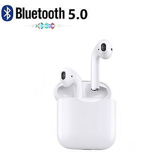 Bluetooth i12 TWS Headphone Headset IPX 5 with Docking Station, Wireless Charging White - iOS, Android