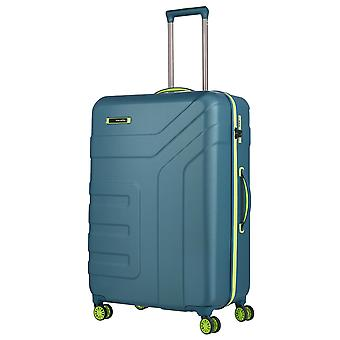 travelite Vector Trolley L, 4 Rollen, 77 cm, 103  L, Petrol/limone