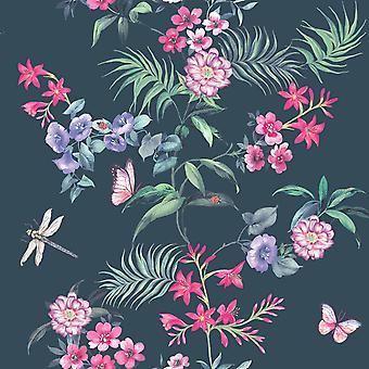 Carmen Wallpaper Tropical Exotic Flowers Floral Butterflies Dragonflies Crown