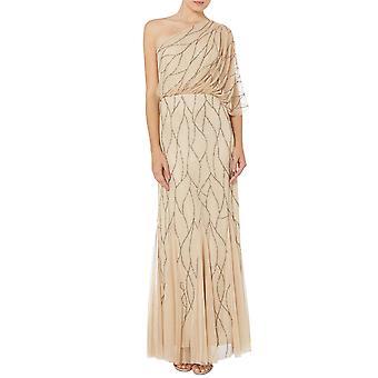 Champagne pärlstav netto klänning