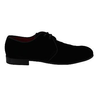 Dolce & Gabbana Black Velvet Derby Dress Formal Shoes