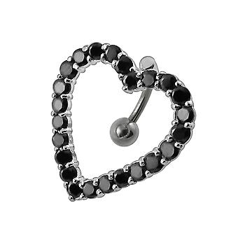 Moving Jeweled Heart Shaoed Belly Ring