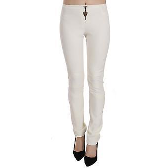 White Mid Waist Skinny Dress Trousers Pants -- PAN7348016