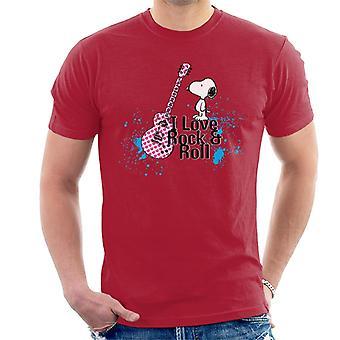 Jordnötter Jag älskar Rock & Roll Snoopy Men's T-Shirt