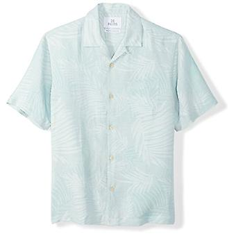 28 Palms Men's Relaxed-Fit Silk/Linen Tropical Leaves Jacquard Shirt, Aqua, X...