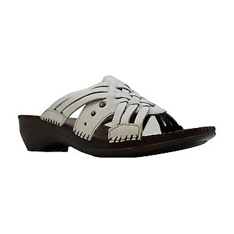 Auditions Womens Tango Leather Open Toe Casual Slide Sandals