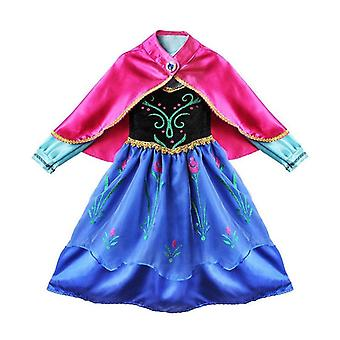 Børn Frosne Prinsesse Anna Queen Cosplay Costume Party Fancy Dress 3-8 Yrs