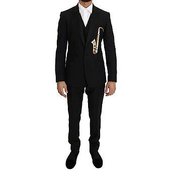 ドルチェ&ガッバーナ ブラック ウール シルク サキソフォン スリムフィット スーツ -- KOS1503920