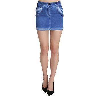 Blaue Baumwolle Stretch Casual Mini Rock--PAN7803696