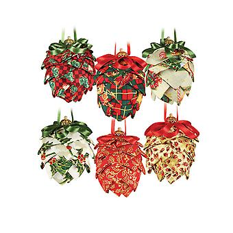 6 Christmas Fabric Covered Pinecone Baubles Craft Kit