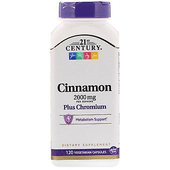 21ème siècle, cannelle plus chrome, 2.000 mg, 120 capsules végétariennes