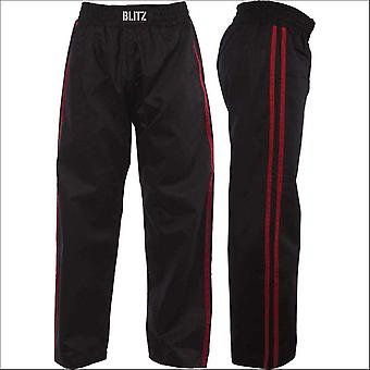 Blitz sports classic polycotton full contact trousers - black red