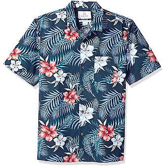 28 Palms Men's Relaxed-Fit 100% Cotton Tropical Hawaiian Shirt, Vermelho/Branco/Blu...