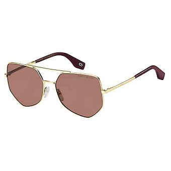 Sunglasses Unisex polygonal gold/red
