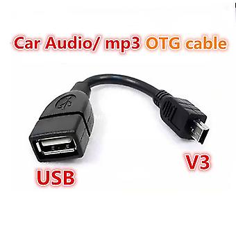Female to Mini USB Male Cable Adapter OTG V3 Port Data Cable For Car Audio