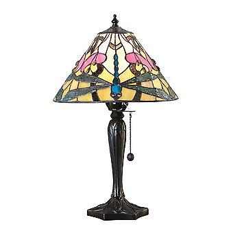 1 Lâmpada de Mesa Pequena Clara Vidro Tiffany, Tinta de Bronze Escuro com Destaques, E14