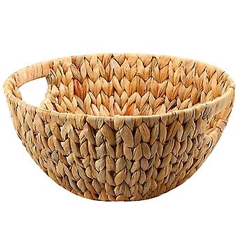 Natural Straw-weaved Disk Fruit Storage Basket Snack Melon Seed Tray Table Basket (wood Color)
