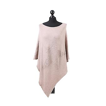 Orla Knitted Star Poncho | Beige | One Size