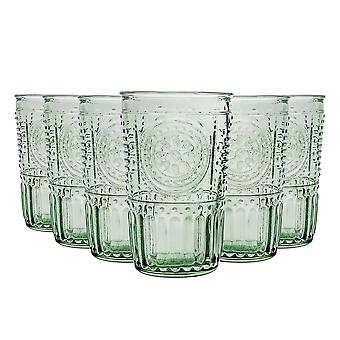 Bormioli Rocco Romantic Highball Glasses Set - Vintage Italian Cut Glass Cocktail Tumblers - 340ml - Green - Pack of 12