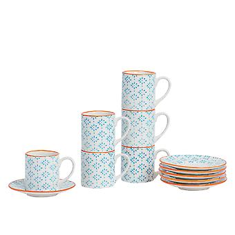Nicola Spring 12 Piece Hand-Printed Espresso Cup and Saucer Set - Small Japanese Style Porcelain Coffee Cups - Blue - 65ml