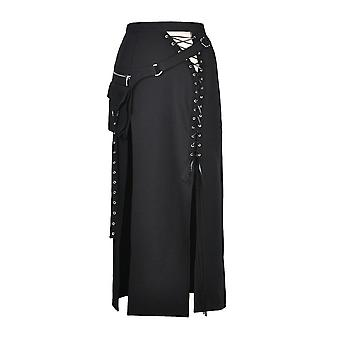 Dark In Love Split Front Lace-Up Gothic Skirt