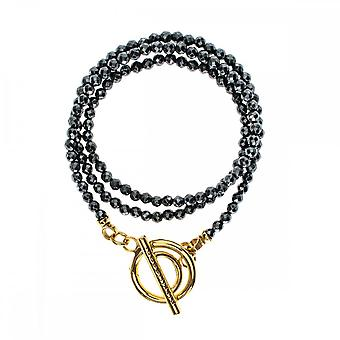 Nikki Lissoni zwart pyrite goud vergulde wrap armband