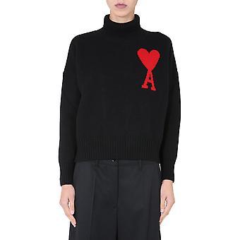 Ami H20fk203018001 Damen's Schwarze Wolle Pullover