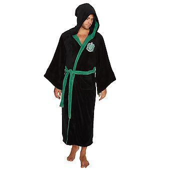Harry Potter Slytherin House Men's Hooded Black Bathrobe