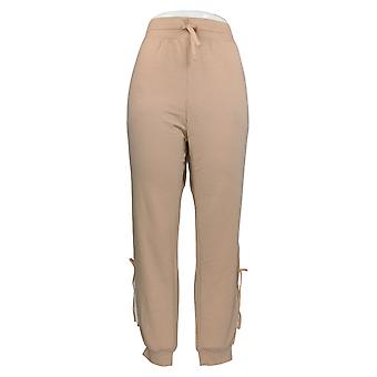 WVVY Women's Pants French Terry Knit Pull On Side Tie Jogger Pink 698-677