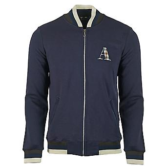 Aquascutum A Logo Zip Sweater Navy Jacket