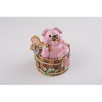 Pig Taking A Bath - Trinket Box