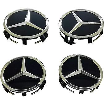 Black/Silver Star Mercedes Benz Wheel Center Caps Hub Badges 75mm 4 PCS For A B C E S G CLASS CLA CLS SLK ML AMG