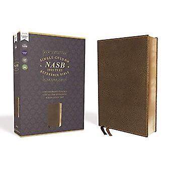 NASB, yksisarakkeinen viiteRaamattu, Leveä reunus, Leathersoft, Ruskea, 1995 Teksti, Comfort Print