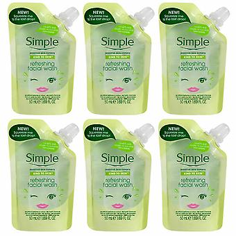 6 x 50ml Simple Kind to Skin Refreshing Facial Wash Travel Pouches