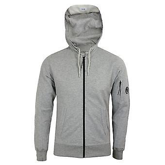 C.p. company men's grey marl light fleece zipped hooded sweatshirt