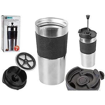Top B&Co Hamelin 380ml Commuter Travel Drinking Mug met Cafetiere Press - Zilver