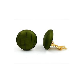 Clip-on Earring Round Green Olive
