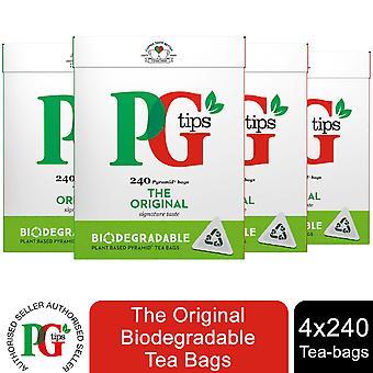 PG Tips Original Biodegradable Bolsas de Té, 4 Paquetes de 240 Bolsas