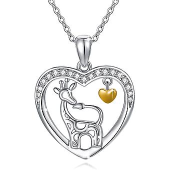 Silver Necklace for Women 925 Sterling Silver Giraffe Pendant Necklace