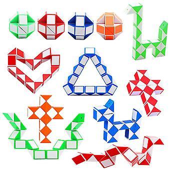 Soneer 12 pack 24 blocks magic snake cube,mini snake speed cube, twist puzzle toys for kids intellig