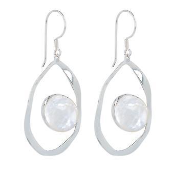 ADEN 925 Sterling Silver White Pareloorbellen (id 5259)