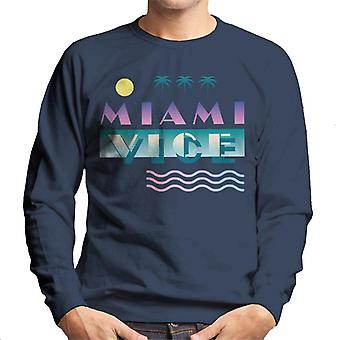 Miami Vice Logo With Sun And Palm Trees Men's Sweatshirt
