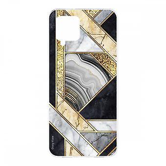 Scafo per Samsung Galaxy A42 5g in Silicone Morbido 1 Mm, Marmo Nero e Oro