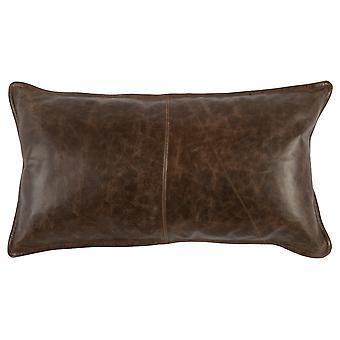 Almohada de lanzamiento de cuero con detalles cosidos y bordes con bridas, marrón oscuro