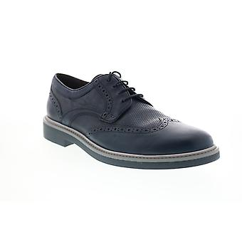 Geox U Silmor Mens Blue Leather Oxfords & Lace Ups Wingtip & Brogue Chaussures